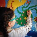 """""""La Fresque des Monstres"""" acrylique sur bois (atelier 3/10 ans)"""