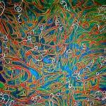 """""""Mélange d'Univers"""" acrylique, réalisée lors de l'événement La Grande Fresque (50 artistes y ont réalisé une oeuvre de 1 mètre sur une toile de 50 mètres de long)"""