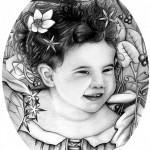 """""""Marie dans les Bois"""" crayon et encre"""